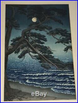 Vintage Japanese Woodblock Print Toko Ishiwata Koitsu Moon at Enoshima Beach