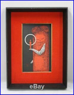 Vintage KAORU KAWANO Girl Candle Light. Modern Japanese Woodblock Original Frame