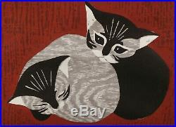 Vintage Kaoru Kawano (1916-1965) Cats Kittens Japanese Woodblock Print Art Japan