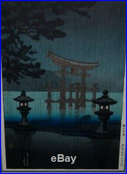Vintage Tsuchiya Koitsu Miyajima In The Rain Japanese Woodblock Print Hasui