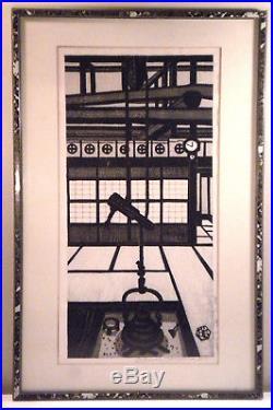 Vintage signed midcentury Japanese woodblock print by Gihachiro Okuyama, 1951