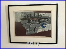 WOW! C. 1966 FUMIO FUJITA Japanese WOODBLOCK Abstract PRINT Limited Ed. 90/100