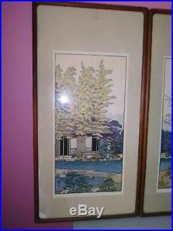 Woodblock Print, BAMBOO TREE by Toshi Yoshida, Pt of Triptych, Teak Frame, Japan