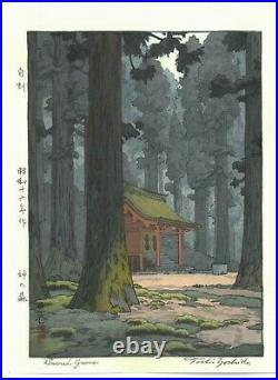 Yoshida Toshi #014102 Kami no mori Japanese Traditional Woodblock Print