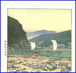 Yoshida Toshi #014203 Kawara (Tenryu River) Japanese Woodblock Print