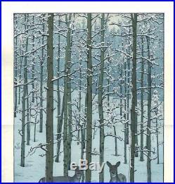 Yoshida Toshi Aspen 1973 Japanese Woodblock Print Free shipping