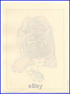 Yoshida Toshi JAPANESE Woodblock Print SHIN HANGA Tiger