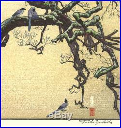 Yoshida Toshi Plum tree and Blue Magpie 1951 Japanese Woodblock Print F/S