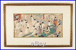 Yoshiiku Japanese Woodblock Print Erotic Nudes