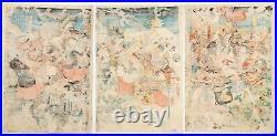 Yoshitora, Battle Triptych, Warrior, Awadu, Original Japanese Woodblock Print